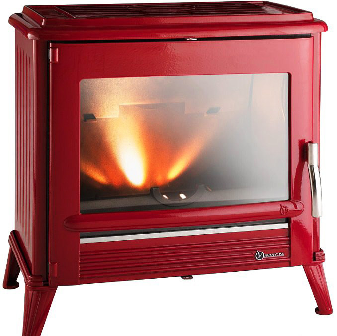 Invicta modena 12 kw red enamel wood burning stove for Poele a bois rectangulaire invicta