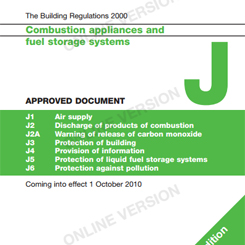Building regulations Document J for the installation of wood burning and multi-fuel stoves