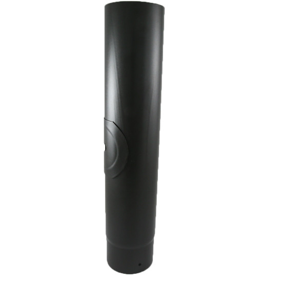 0.5m Straight 4 inch Black Flue Section With Door