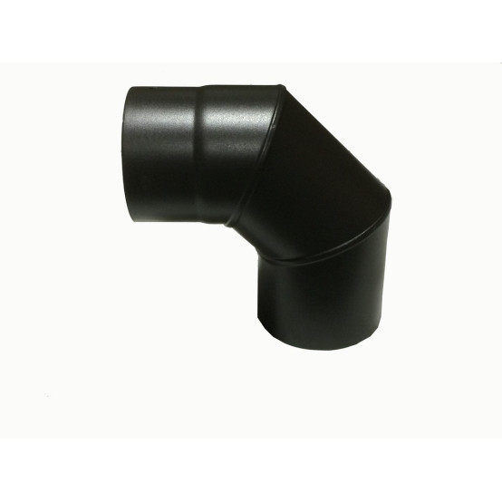 5 inch 90 Degree Plain Black Flue Elbow