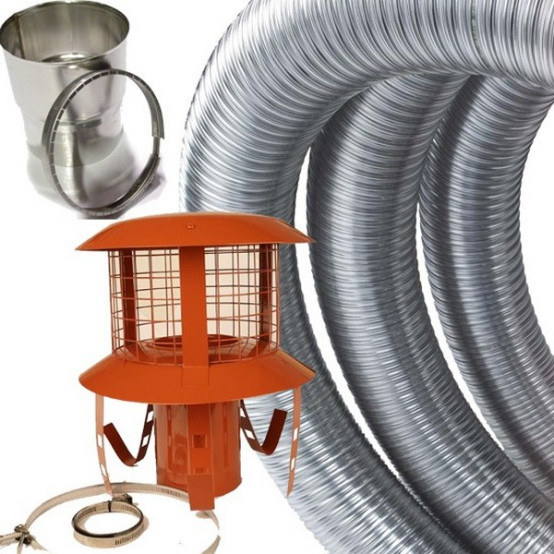 DEFRA 5 inch 316 Grade Stainless Steel Flexible Flue Liner Kit