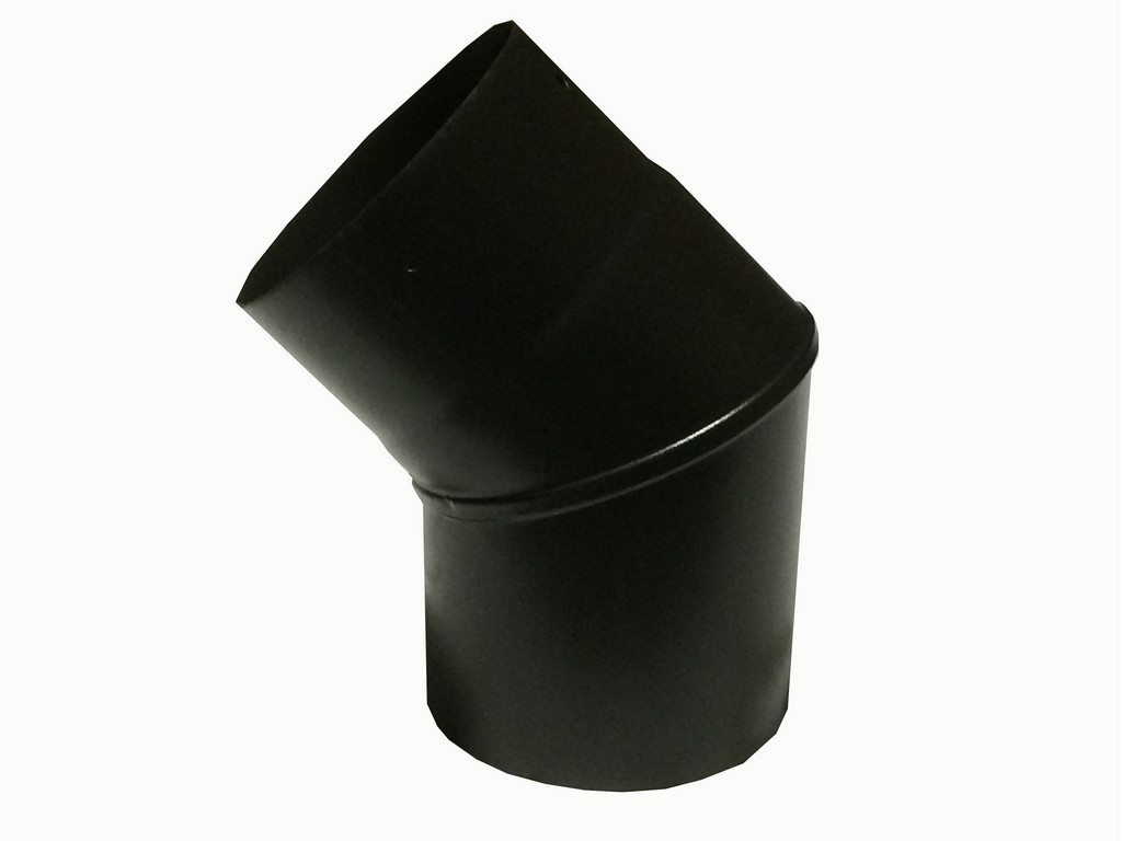 6 inch 45 Degree Plain Black Flue Elbow