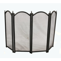 Black Arched Top 4 Panel Folding Fire Screen