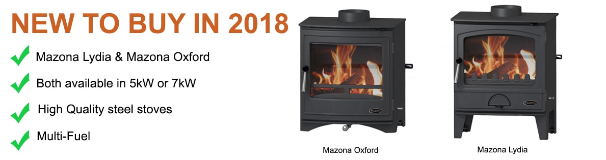 New to buy in 2018: Mazona Lydia and Mazona Oxford multi-fuel stoves. Both available in 5 kW or 7 kW, made from high quality steel.