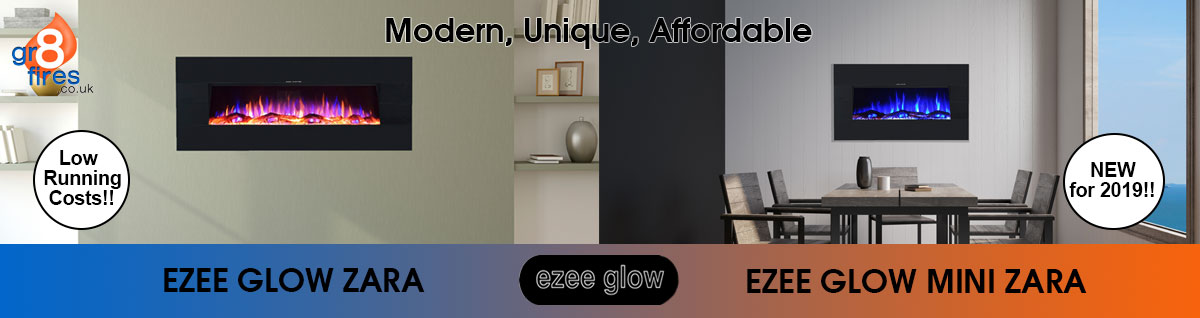 Ezee Glow Zara: modern, unique, affordable. New for 2019. Low running costs.